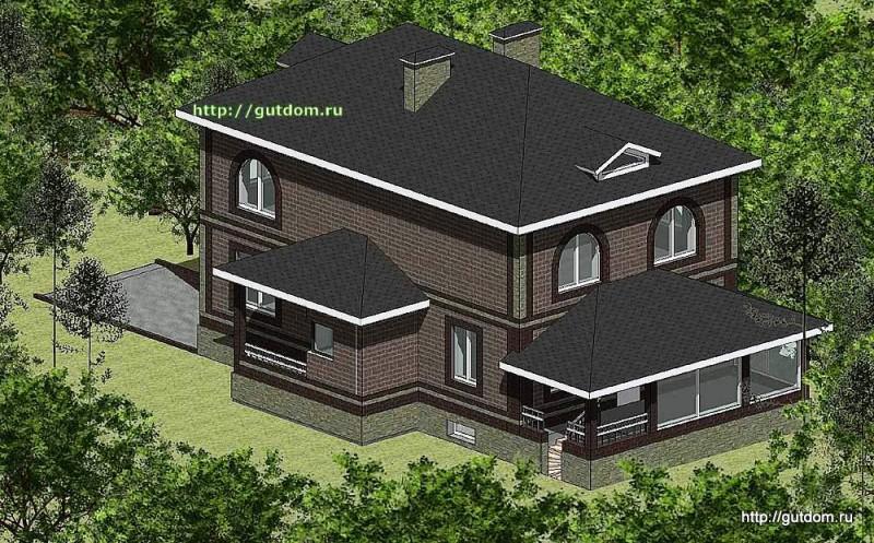 Проект двухэтажного дома Панц20 площадью 200 м2 эскиз 2