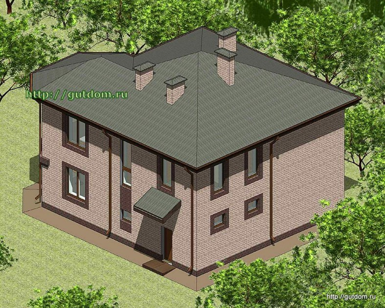 Проект двухэтажного дома Панц28 площадью 166 м2 эскиз 3