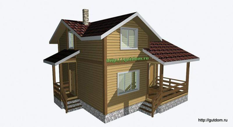 Проект двухэтажного дома из бруса площадью 103,2 м2 Вика4 эскиз 2