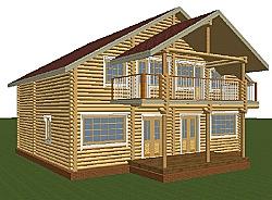 Проект двухэтажного дома из оцилиндрованного бревна d200 ум