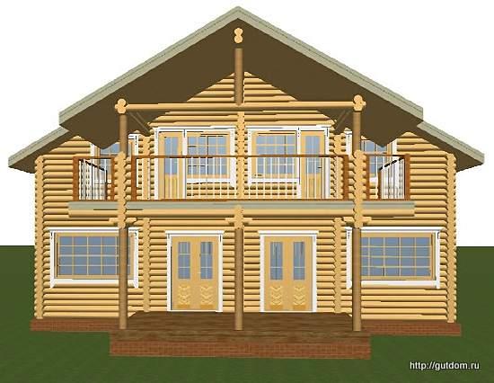 Проект двухэтажного дома из оцилиндрованного бревна d200, эскиз 2