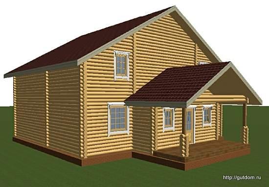 Проект двухэтажного дома из оцилиндрованного бревна d200, эскиз 3