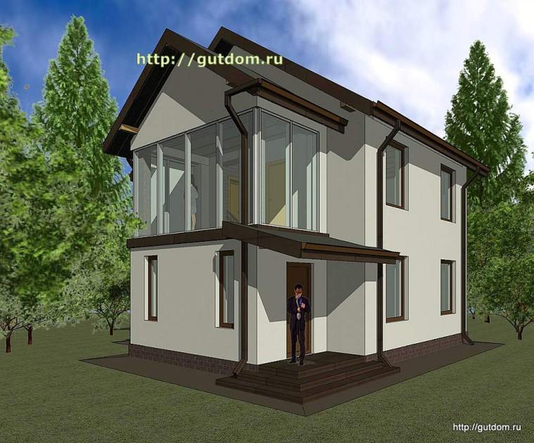 Проект двухэтажного дома площадью 107 м2 Панц37 эскиз 3