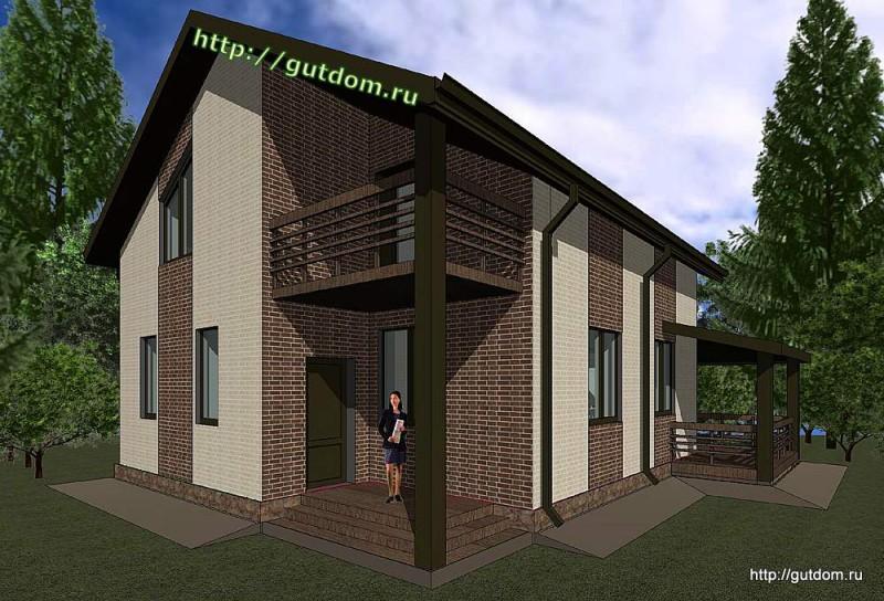 Проект двухэтажного дома площадью 140 м2 Панц32 эскиз 2
