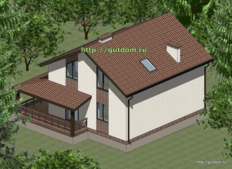 Проект двухэтажного дома площадью 140 м2 Панц32 эскиз 3