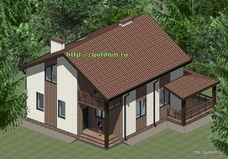 Проект двухэтажного дома площадью 140 м2 Панц32
