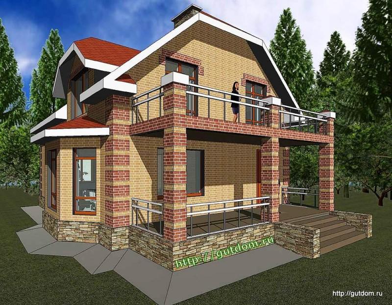 Проект двухэтажного дома площадью 166 м2 Панц27 эскиз 2
