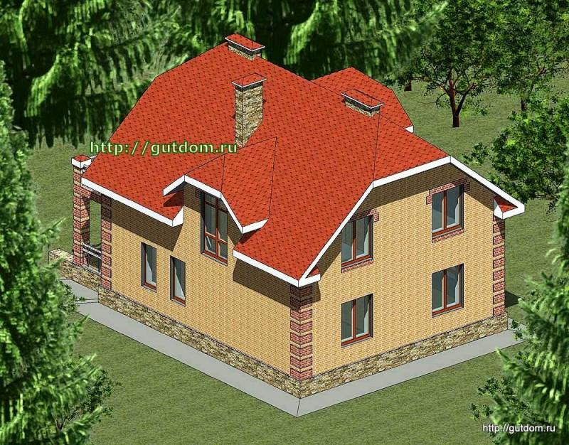 Проект двухэтажного дома площадью 166 м2 Панц27 эскиз 3