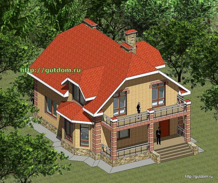 Проект двухэтажного дома площадью 166 м2 Панц27