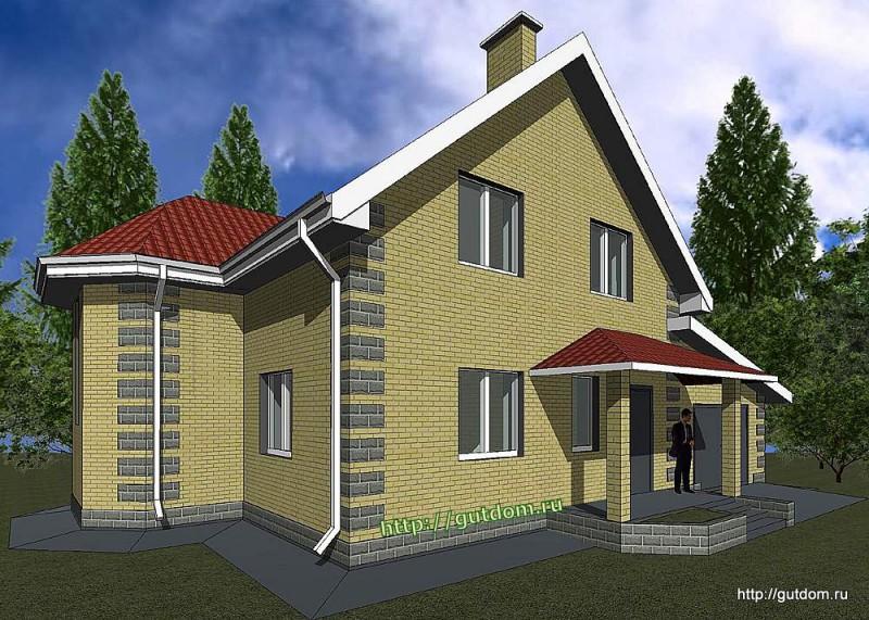Проект двухэтажного дома площадью 180 м2 Панц24 эскиз 2