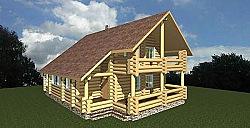 Проект двухэтажного дома площадью 265 м2 из бревна Вика1 ум