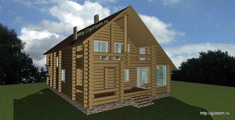 Проект двухэтажного дома площадью 265 м2 из бревна Вика1 эскиз 3