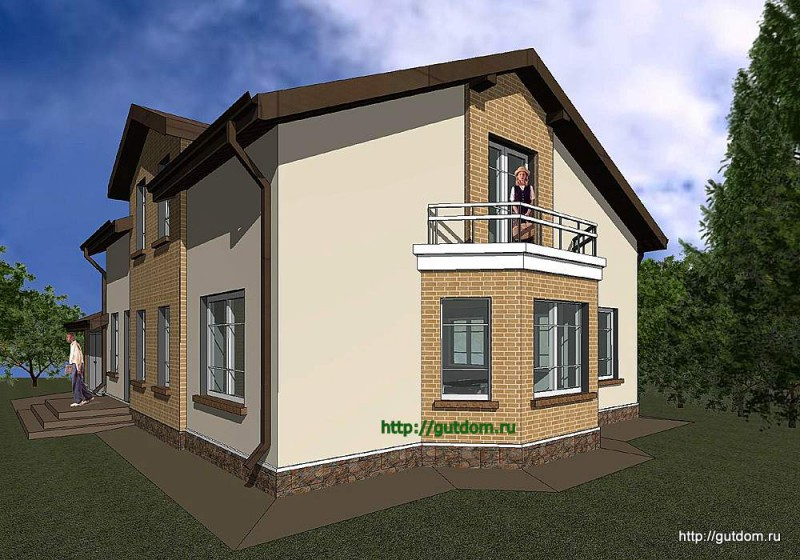 Проект двухэтажного дома с гаражом Панц18 эскиз 2
