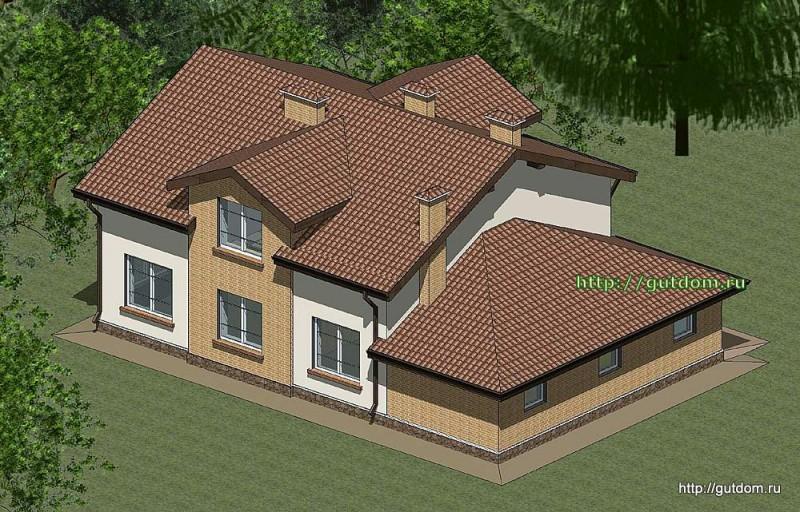 Проект двухэтажного дома с гаражом Панц18 эскиз 3