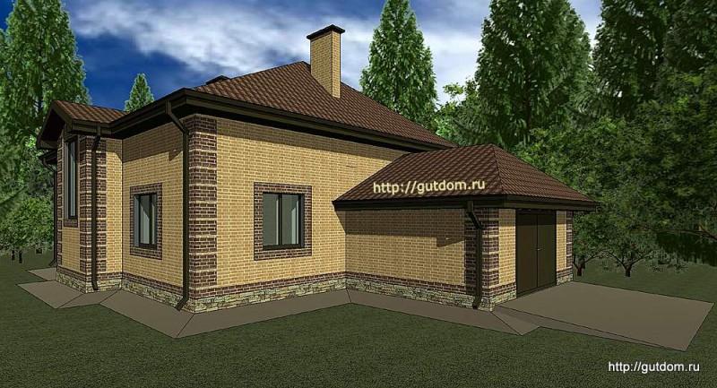 Проект двухэтажного дома с гаражом Панц19 эскиз 2