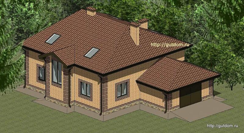 Проект двухэтажного дома с гаражом Панц19