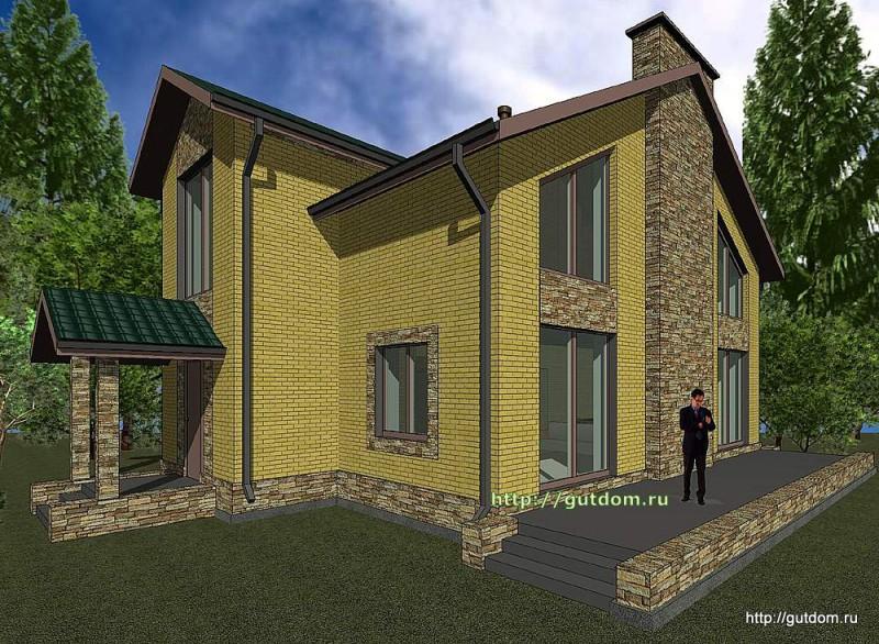 Проект двухэтажного коттеджа Панц21 площадью 193 м2  эскиз 2