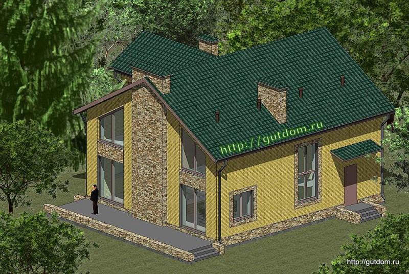 Проект двухэтажного коттеджа Панц21 эскиз 1