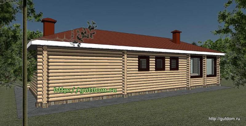Проект дома отдыха с парилкой, бильярдной, барбекю Панц36 эскиз 3