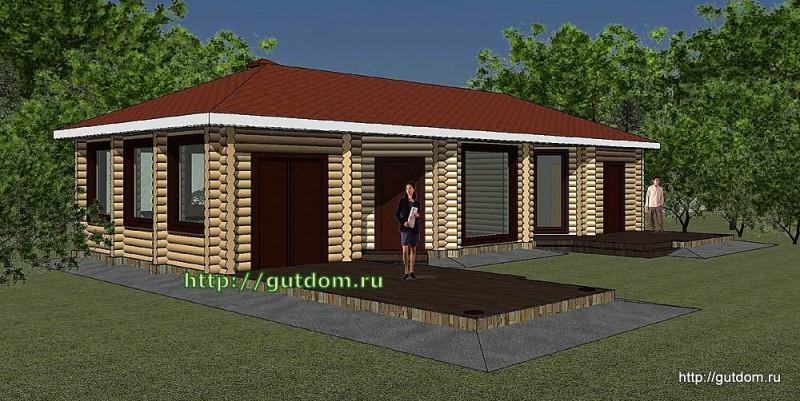 Проект дома отдыха с парилкой, бильярдной, барбекю Панц36 эскиз 4