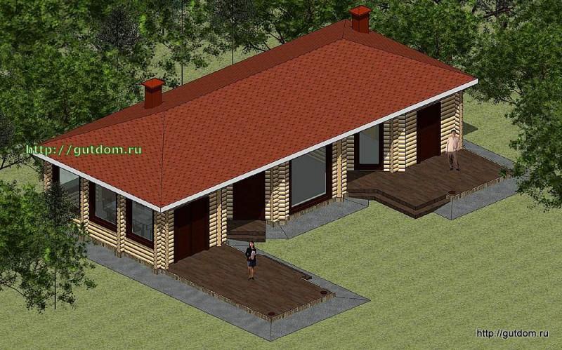 Проект дома отдыха с парилкой, бильярдной, барбекю площадью 108 м2 Панц36
