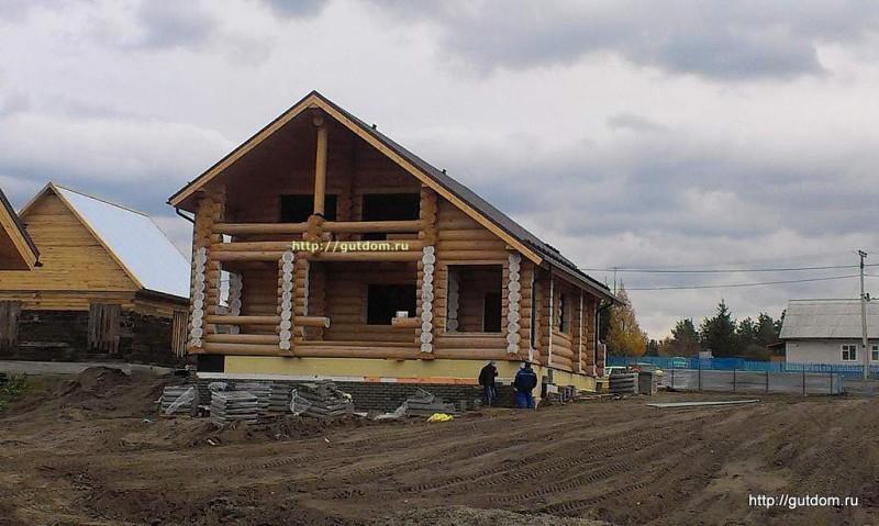 Строительство дома из оцилиндрованного бревна фото 2
