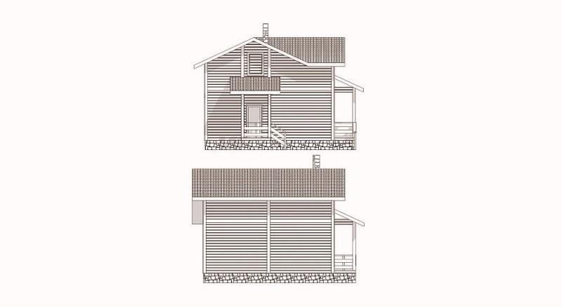 Фасад дома из бруса эскиз 1