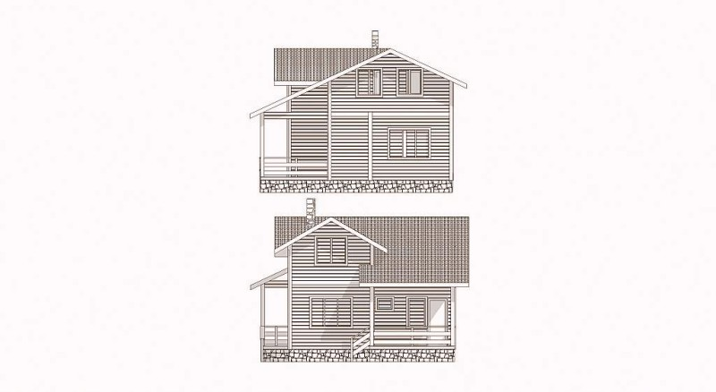 Фасад дома из бруса эскиз 2