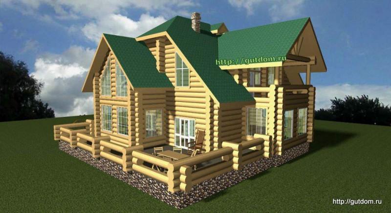Проект двухэтажного дома из бревна площадью 271 м2 Вика5
