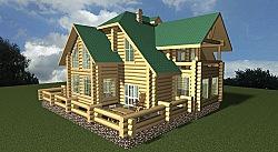 Проект двухэтажного дома из бревна ручной рубки 271 м2 Вика5