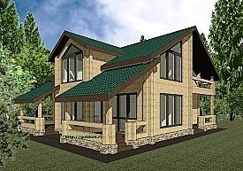 Проект двухэтажного дома из бруса Панц3 площадью 212 м2