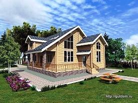 Проект двухэтажного дома из профилированного бруса 215 м2 Кир6