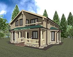 Проект двухэтажного дома 191 м2 из оцилиндрованного бревна Панц1