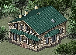 Проект двухэтажного дома 234 м2 из оцилиндрованного бревна Панц2