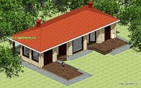 Проект дома отдыха с парилкой Панц36 площадью 108 м2