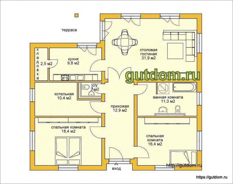 Проект одноэтажного дома площадью 116 кв.м ГБ62