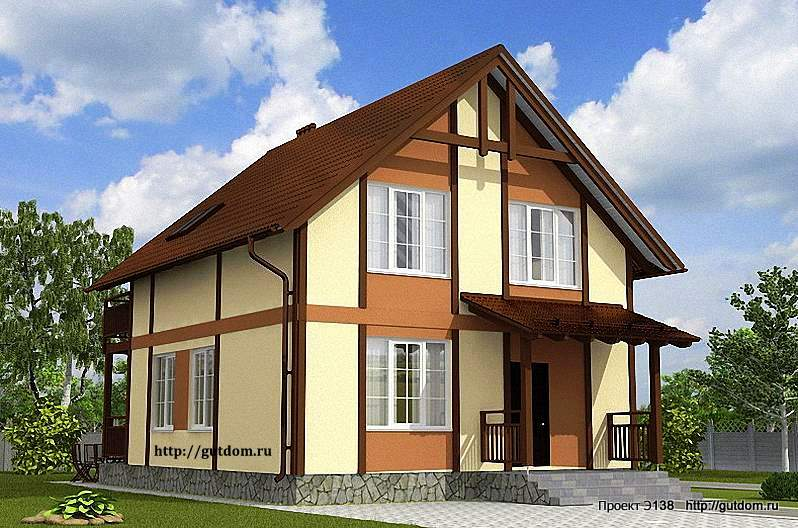 Проект э138 дом, коттедж с мансардой общая площадь 124 м2 ка.
