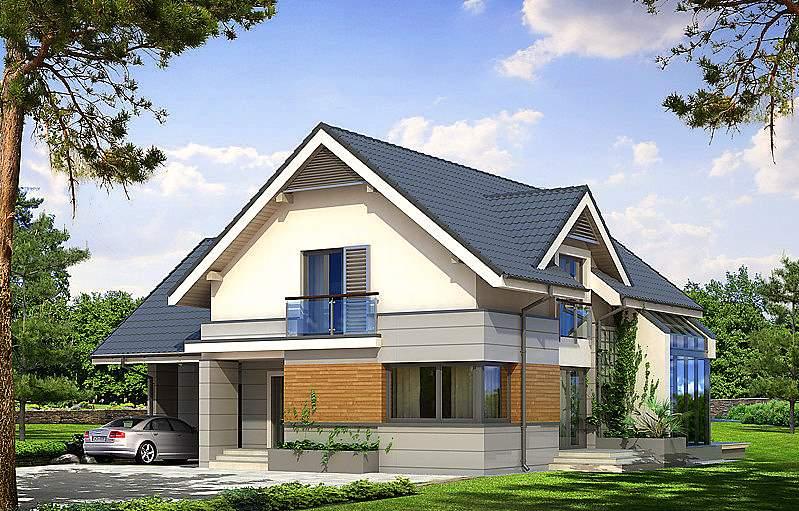 Дом с мансардой и гаражом проект э288
