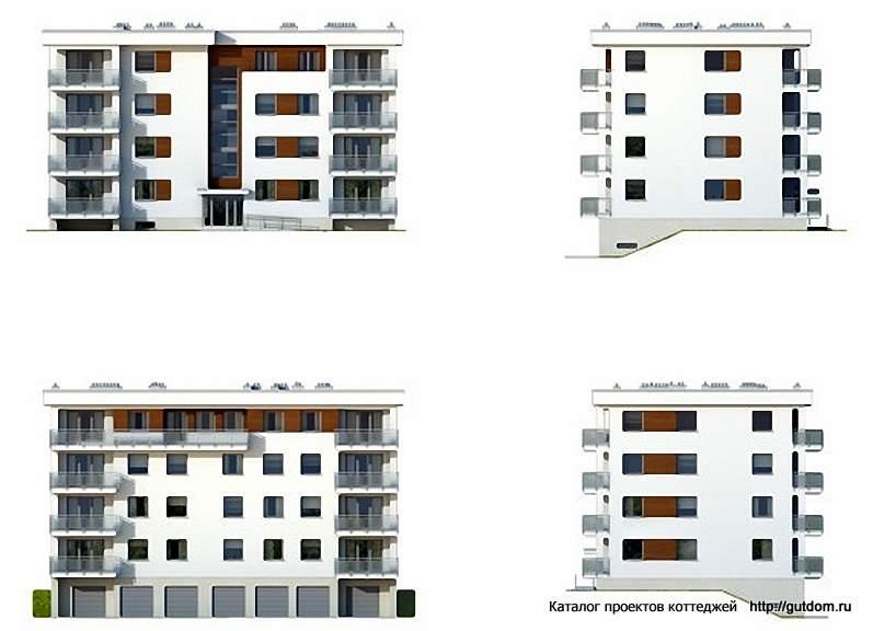 Проект многоквартирного четырехэтажного дома с цокольным эта.