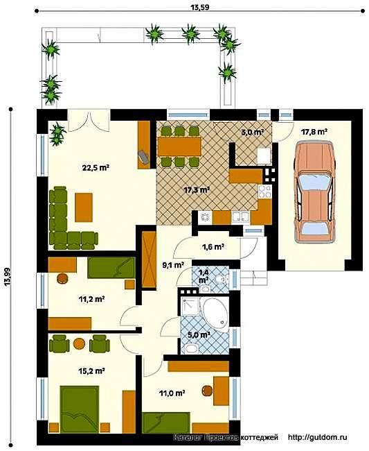 Планировка одноэтажного дома 97 м2