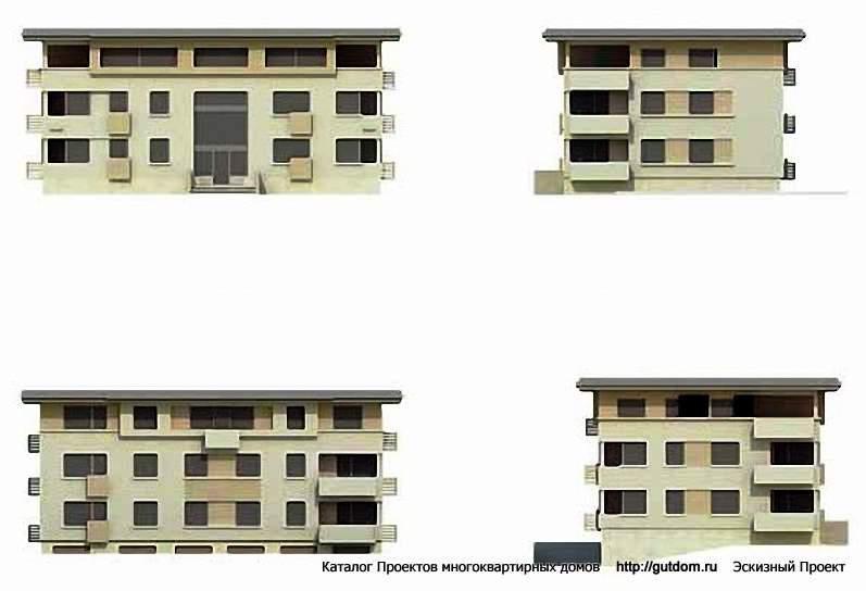 Эскизный проект мд104 многоквартирный трехэтажный дом 676 м2.