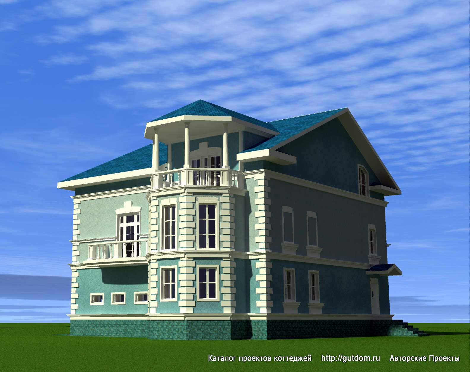 Дом с балконами над эркером..