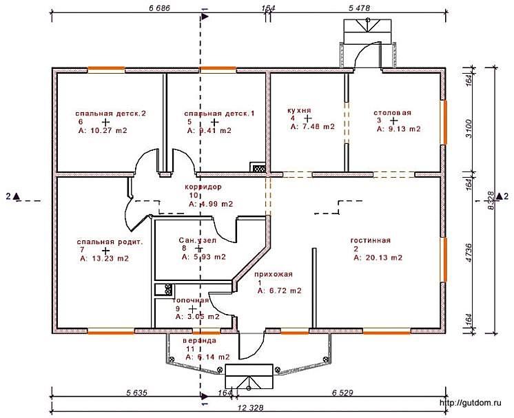 План одноэтажного дома с планировкой