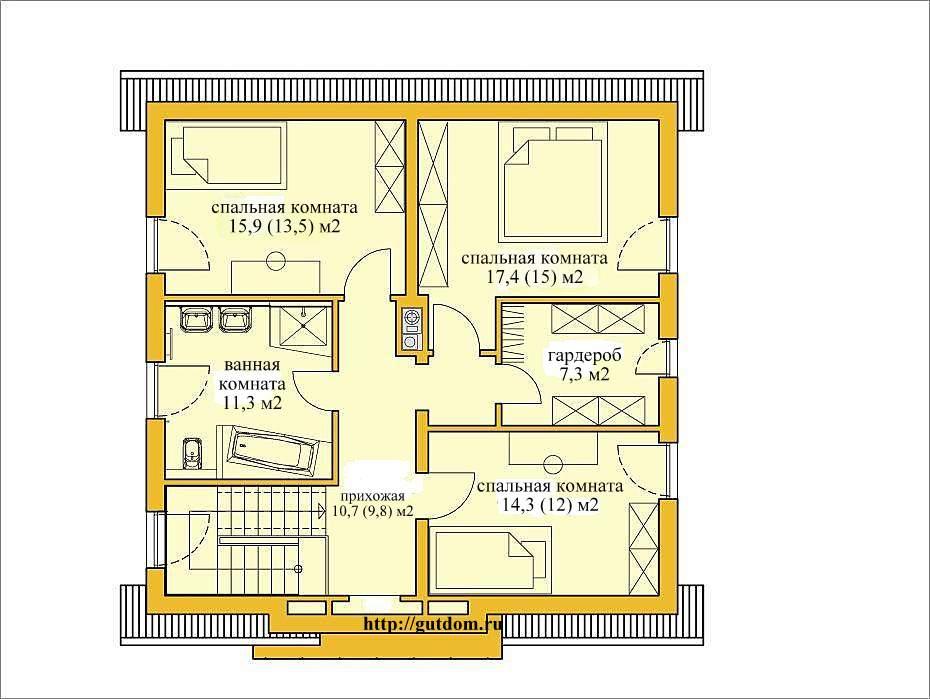 Проект двухэтажного дома из газобетона ГБ49-3 площадью 148 м2
