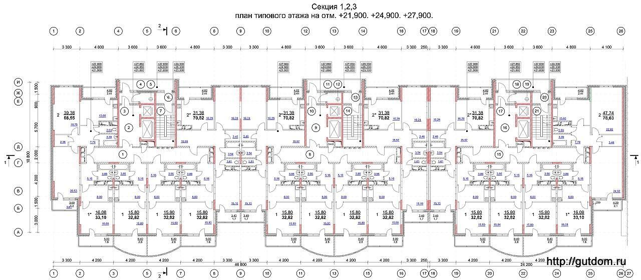планы многоэтажных домов