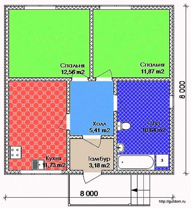 Проект Э112 Дом Коттедж Дача Общая площадь 56,08 м2