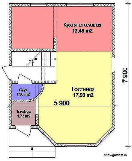 Проект Э107 Дом Коттедж Общая площадь 76,60 м2