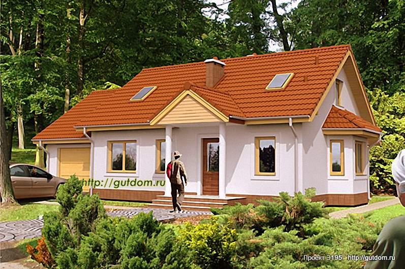 Проект Э195 одноэтажный каркасный дом Общая площадь 105,2 м2