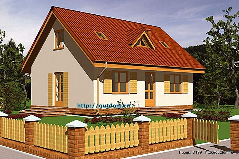 Проект Э199 дом - коттедж с мансардой Общая площадь 87,6 м2
