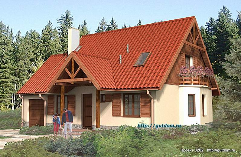 Проект Э202 дом - коттедж с мансардой Общая площадь 117,6 м2